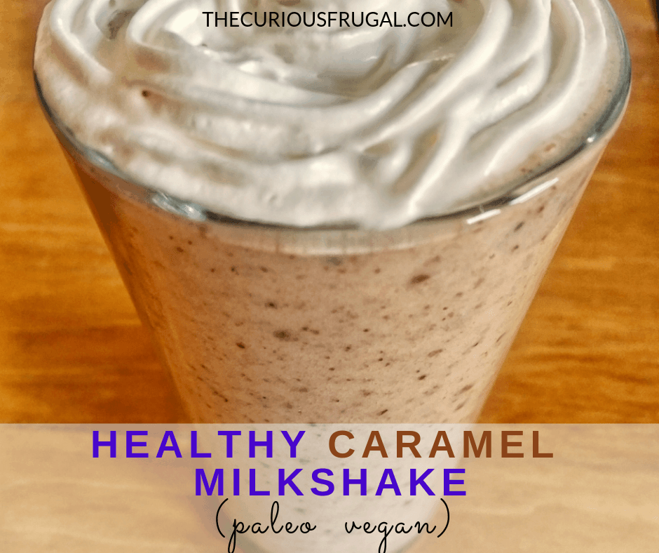 This creamy, dreamy caramel milkshake is actually a healthy caramel milkshake. Made with only 4 ingredients, it's quick to whip up for a healthy breakfast, snack, or even dessert. It's paleo, vegan, and so delicious! #healthyrecipes #healthymilkshake #almondmilk