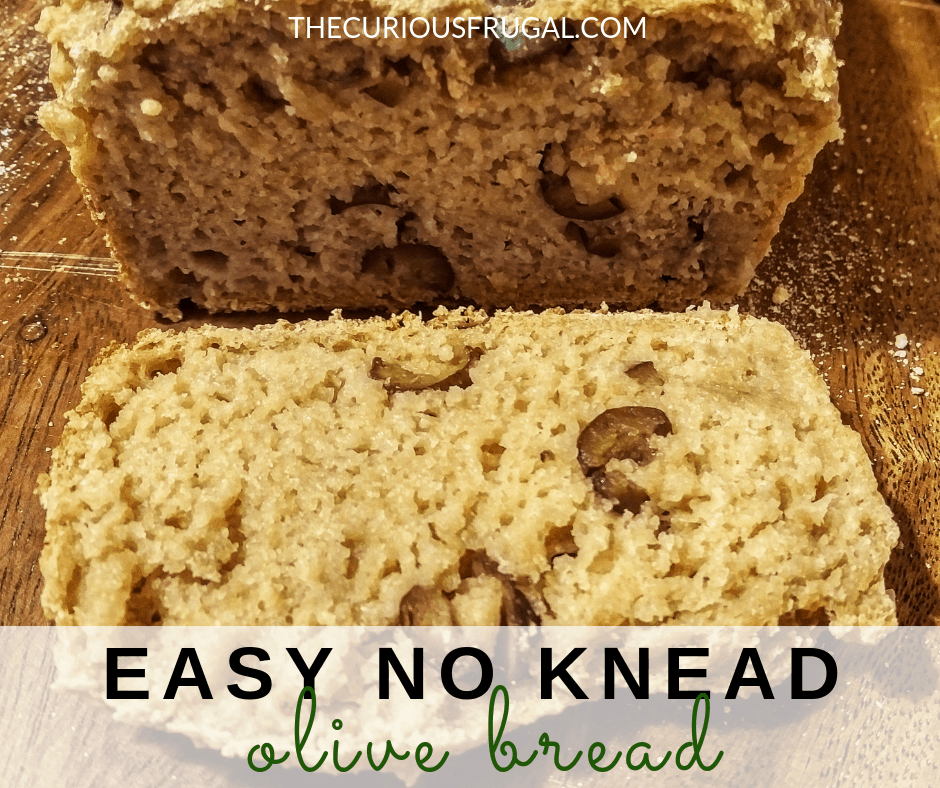 This no-knead olive bread is made with whole wheat flour and is super flavorful and hearty.  It also takes almost no work to make, and is perfect with a pat of butter, with soups or salads, or as a different bread for sandwiches. #olivebread #nokneadbread #breadrecipes #homemadebread #easybread #bread #sandwiches #wholewheat #healthyfood