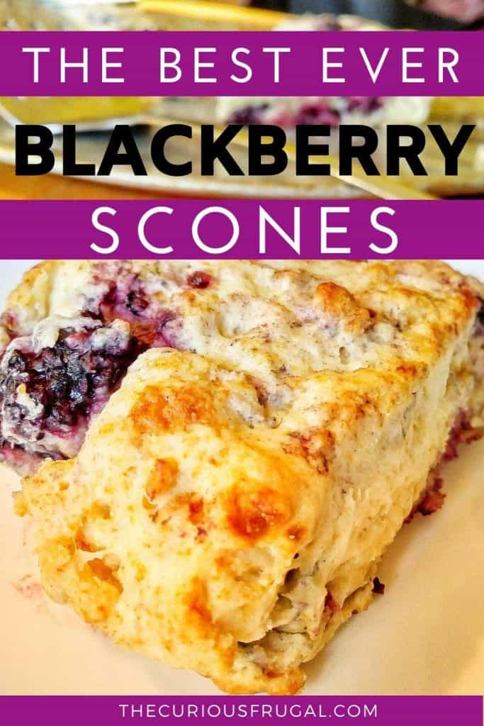 These blackberry scones are so delicious! Yummy, juicy blackberries in every bite, this is also a super easy blackberry scones recipe, with only 4 ingredients! Make these quick blackberry scones for breakfast, brunch, dessert, with your coffee or tea, or a quick snack to take on the go. They are super kid-friendly too! These simple blackberry scones don't even require a rolling pin, and they are great for kids to help with! Try these!! | homemade scones recipe