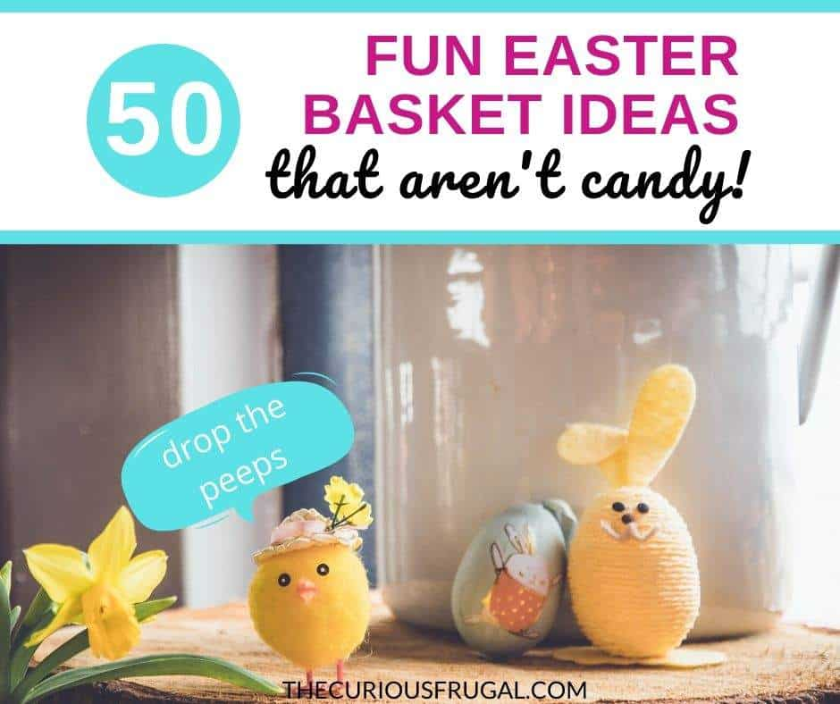Your kids are going to have some treats on Easter, it's inevitable. But if you want to lower the intensity of the sugar rush, here are 50 unique Easter basket gift ideas that are NOT candy! | easter basket ideas for toddlers | easter basket ideas for boys | easter basket ideas for girls | cheap easter basket ideas | creative easter basket ideas | easter basket ideas for preschoolers | small easter basket ideas | inexpensive easter basket ideas | easter basket ideas non candy