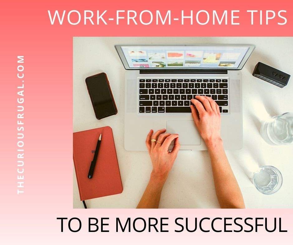 Work from home tips to be more successful (woman working at home on laptop with journal and phone on desk)