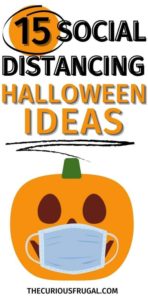 15 Social distancing Halloween ideas (pumpkin with a face mask)