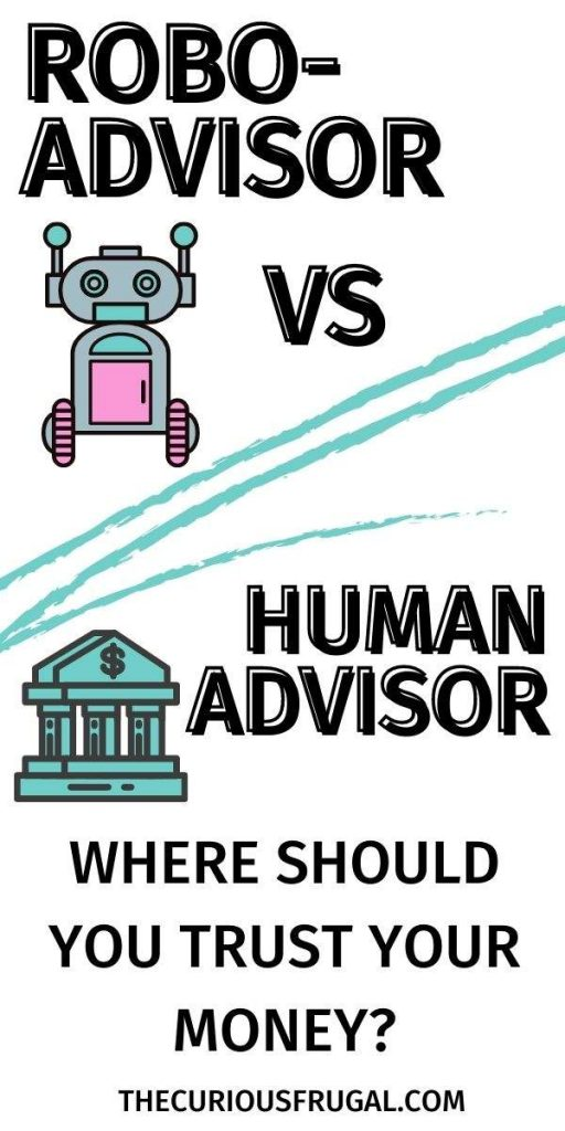 Robo advisor vs human advisor - where should you trust your money (picture of a robot and a bank)