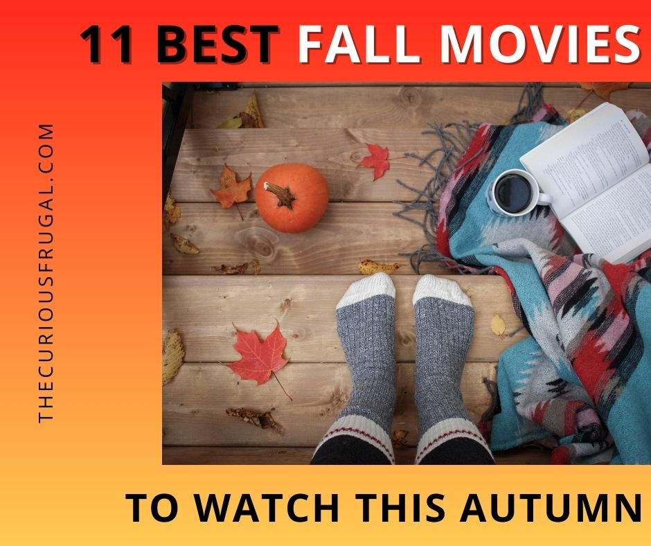 11 Best fall movies to watch this autumn (feet wearing cozy socks, a pumpkin, leaves, a blanket, and a coffee on wooden steps)