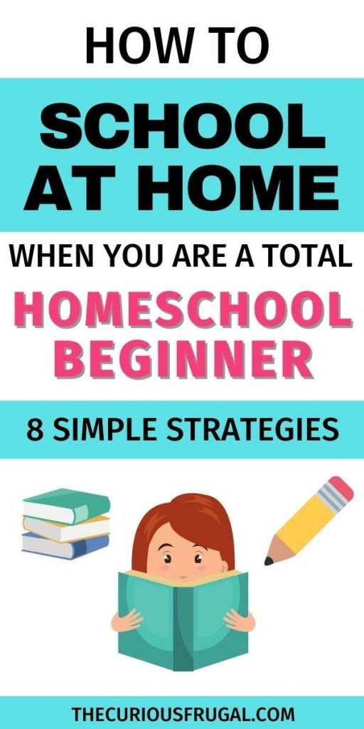 How to school at home when you are a total homeschool beginner - 8 simple strategies (kid reading a book with a stack of school books and a pencil)