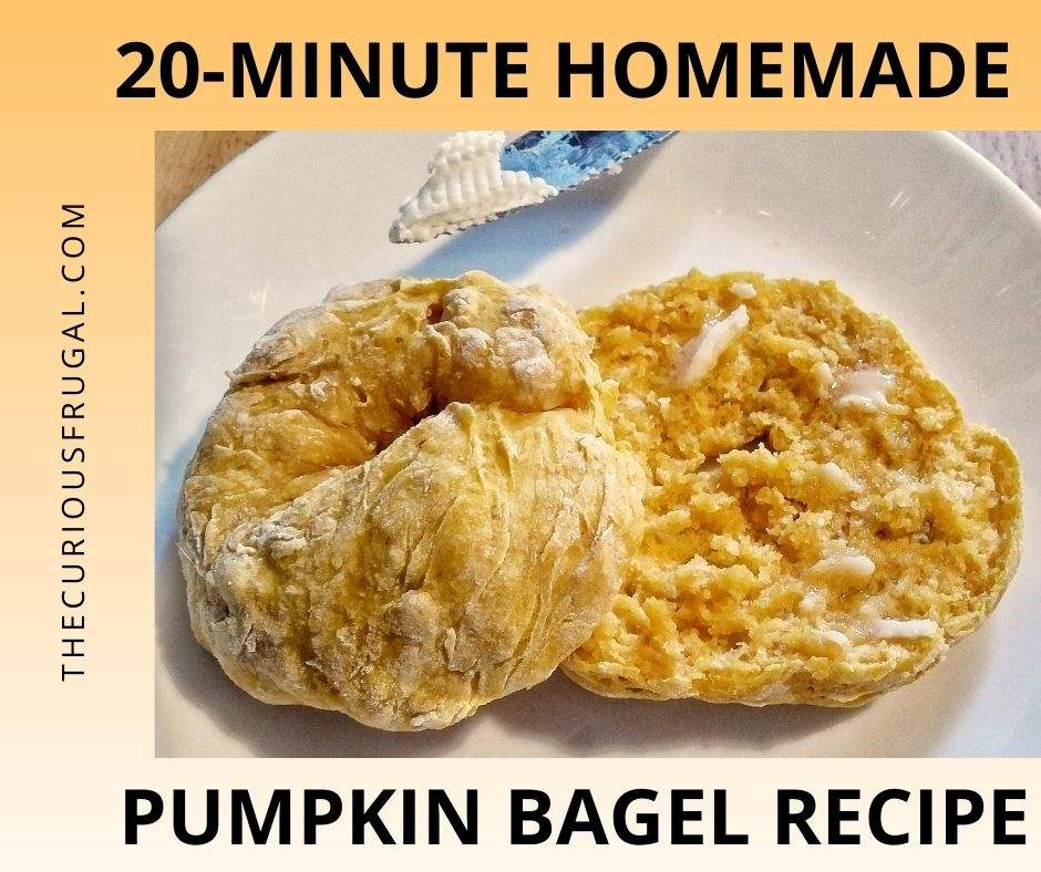 20-minute homemade pumpkin bagel recipe (pumpkin bagel sliced in half with butter slathered on and knife with butter on it)