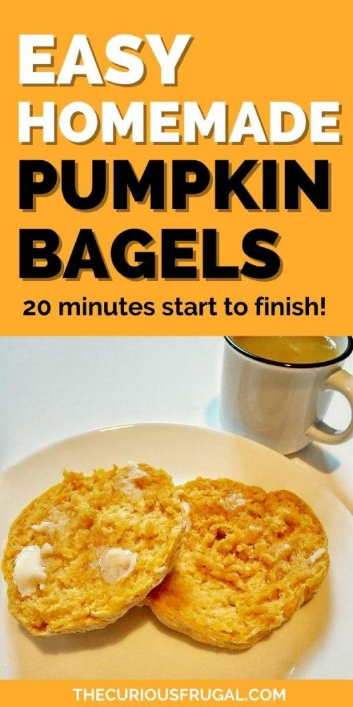 Easy homemade pumpkin bagels - 20 minutes start to finish (bagel halves with butter, and a cup of pumpkin soup on the side)