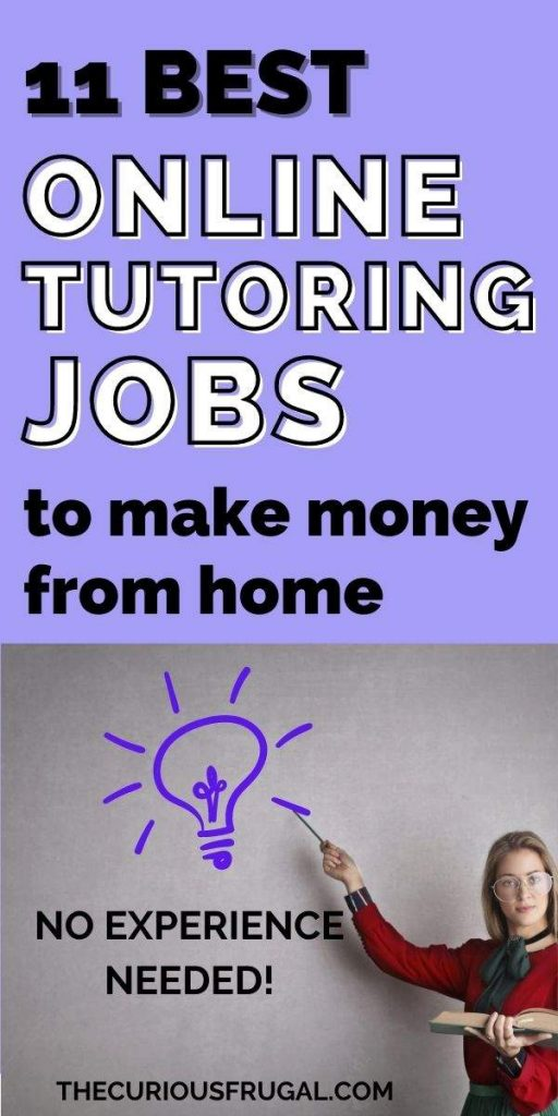 11 Best online tutoring jobs to make money from home - no experience needed (teacher holding a book, pointing to a lightbulb idea)