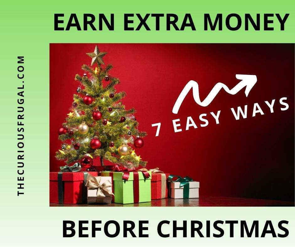 Earn extra money before Christmas - 7 easy ways (decorated Christmas tree with presents underneath)