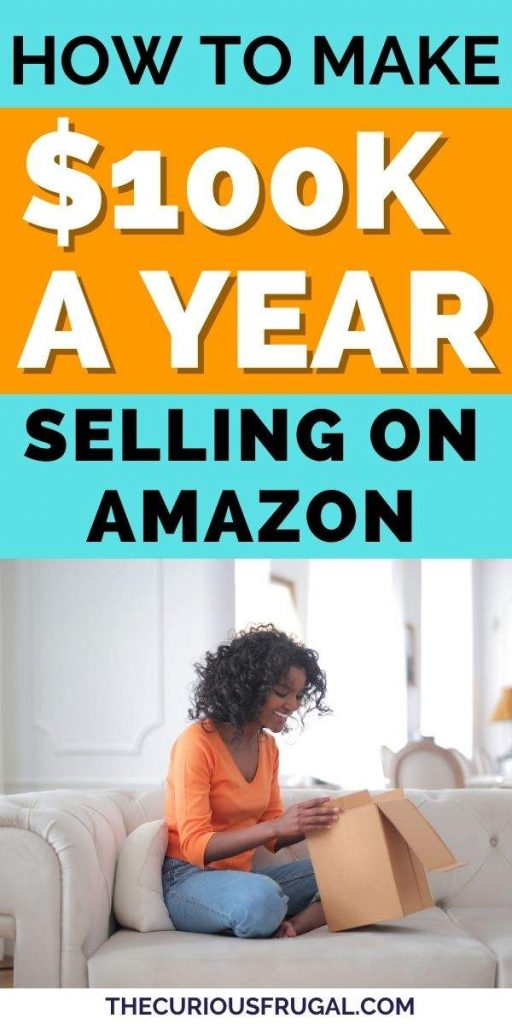 How to make $100,000 a year selling on Amazon (woman on couch opening up a package from Amazon)