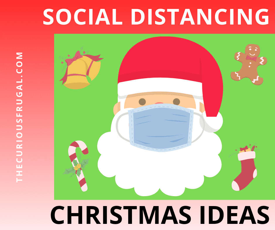 Social distancing Christmas ideas - Santa Claus with mask on, pictures of bells, candy cane, gingerbread man, Christmas stocking
