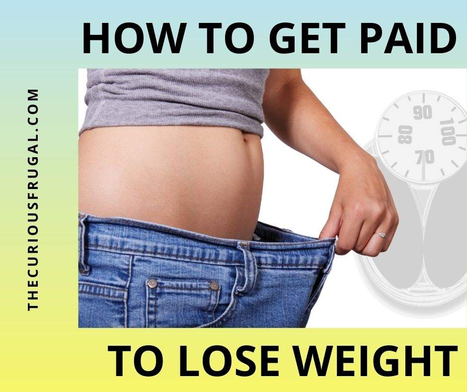 How to get paid to lose weight (slim woman with jeans that are baggy on her and scale in the background)