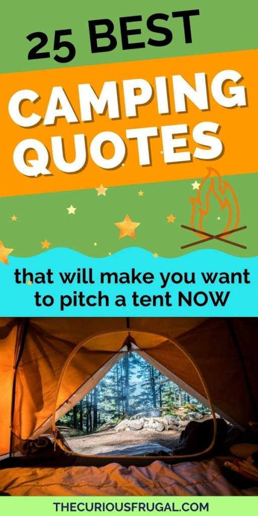 25 Best camping quotes that will make you want to pitch a tent now (view of forest and nature from inside of a tent, campfire and stars)