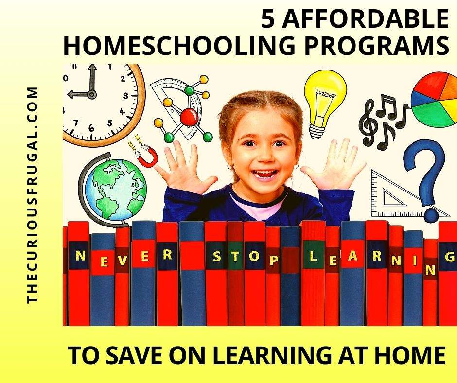 5 Affordable homeschooling programs to save on learning at home (happy kid with row of books, globe, clock, music notes, pie chart, magnet, protractor)