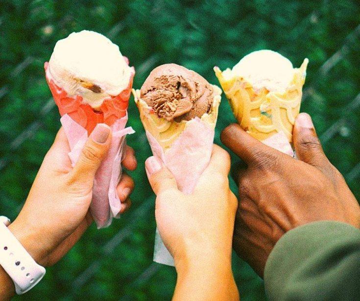 Camping recipes - 3 people holding ice cream cones