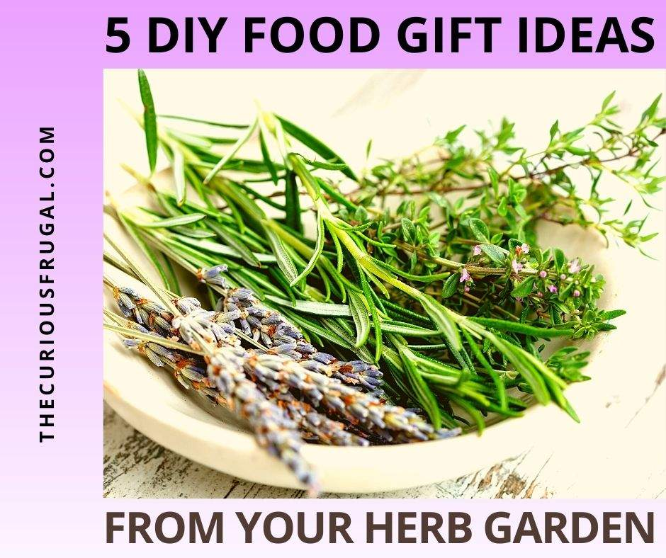 5 DIY food gift ideas from your herb garden (lavender, thyme, rosemary herbs in a bowl on a table)