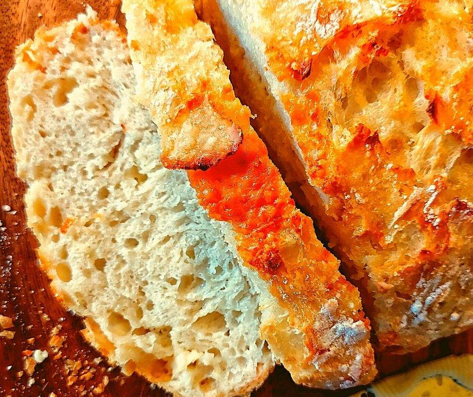 Sliced homemade cheese bread