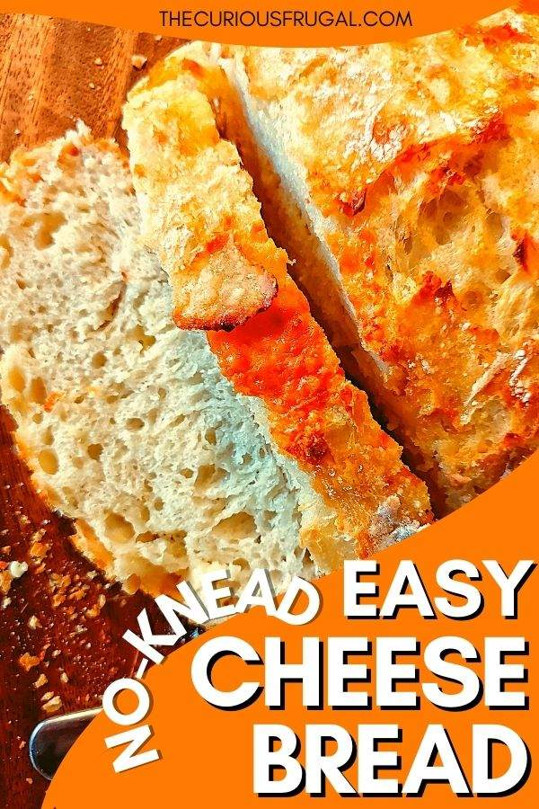 No-knead easy cheese bread (with sliced loaf of cheese bread)