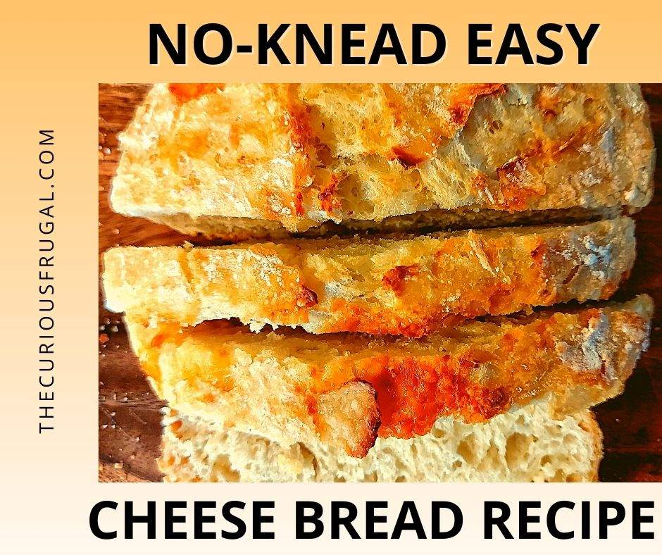No-knead easy cheese bread recipe (with sliced cheese bread)