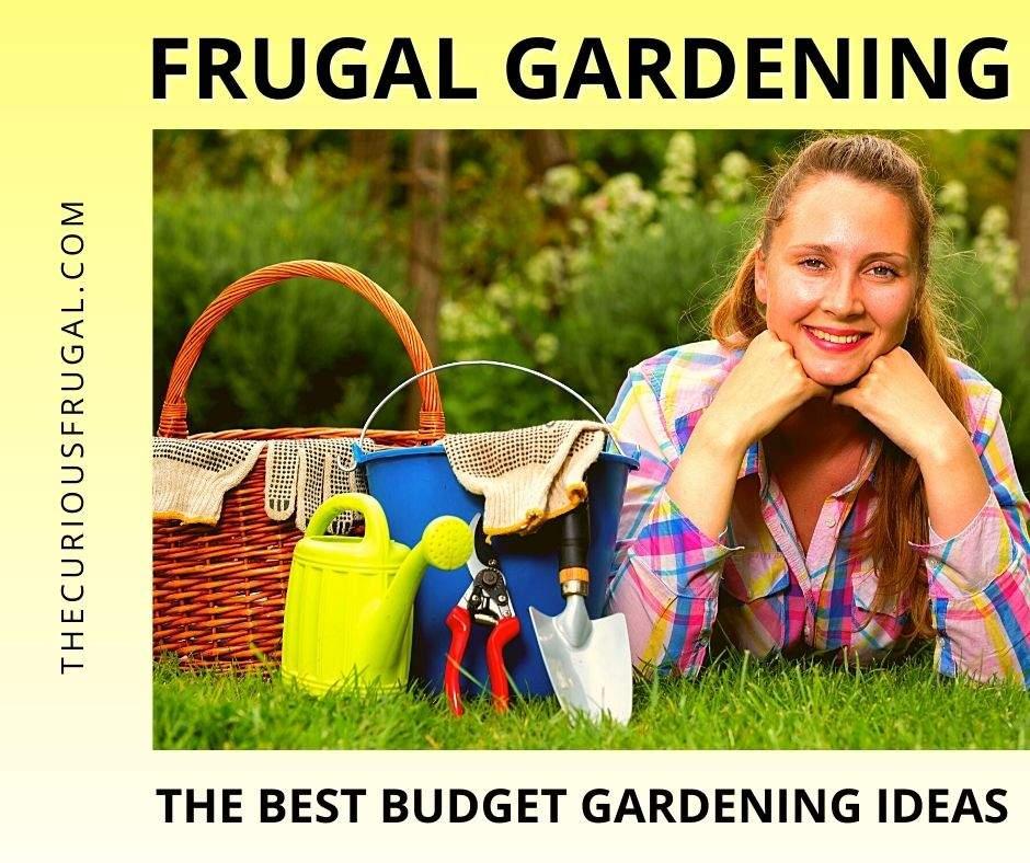 Frugal gardening: the best budget gardening ideas (woman gardener on grass next to watering can, gardening gloves, trowel, and garden shears)