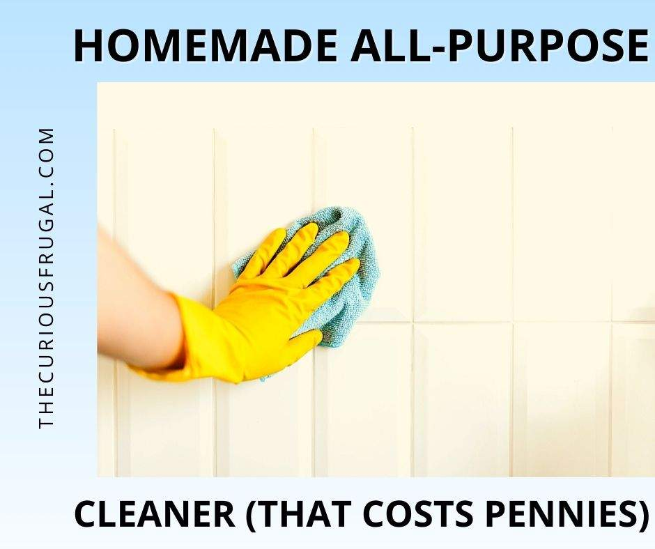 Homemade all-purpose cleaner that costs pennies (hand with plastic glove cleaning white tile with a cloth)