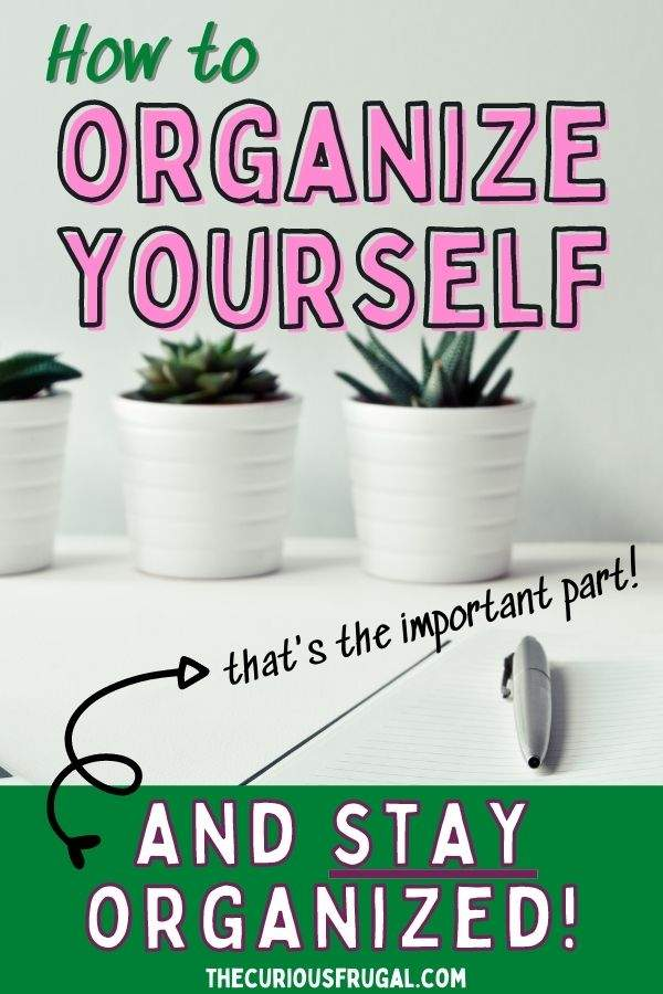 How to organize yourself and stay organized! (that's the important part!) (organized desk with white paper, pen, and plants)