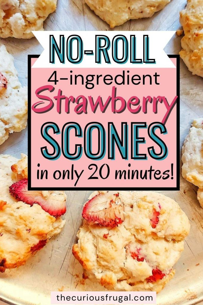 no-roll 4-ingredient strawberry scones in only 20 minutes (strawberry scones on a baking tray)