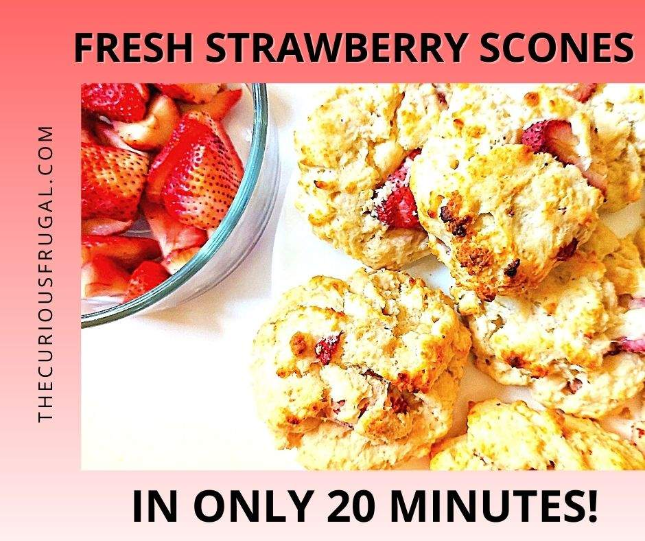 Fresh strawberry scones in only 20 minutes (plate of fresh scones with a bowl of strawberries on the side)