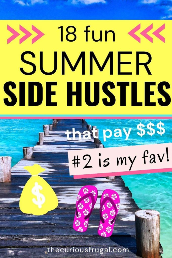 18 fun summer side hustles that pay $$ (#2 is my fave) (pier extending into clear ocean water with flip flops and dollar sign)