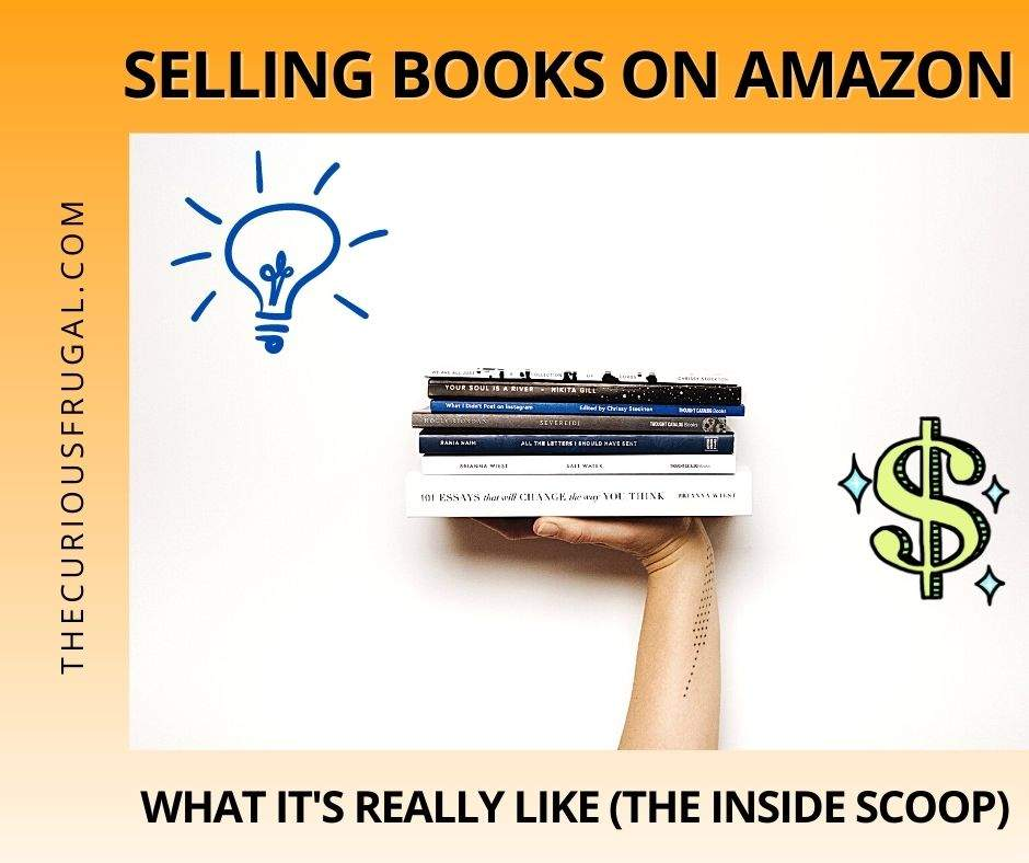 Selling books on Amazon – what it's really like (the inside scoop) - Hand carrying a stack of books with idea and money symbols