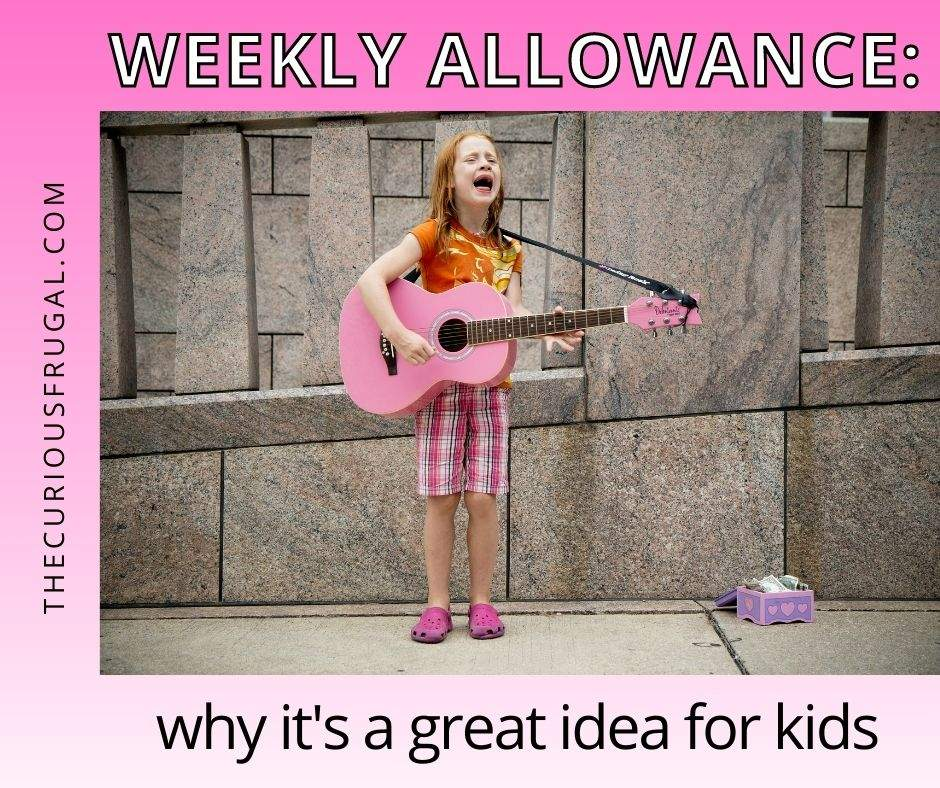 Weekly allowance: why it's a great idea for kids (child playing guitar with a money box on the ground)