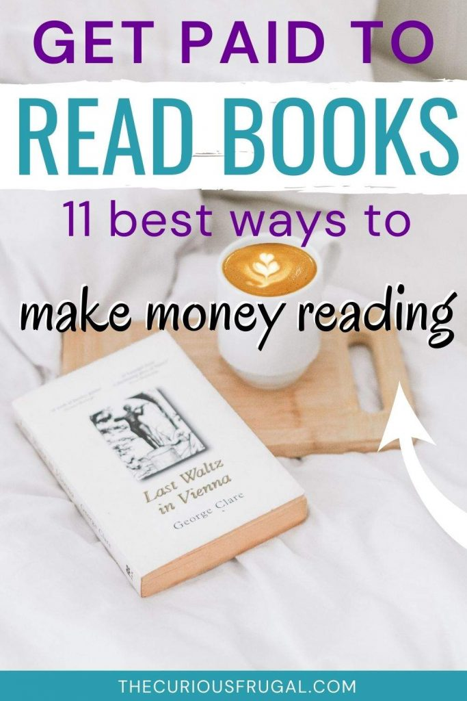 Get paid to read books: 11 best ways to make money reading (a book and latte on a bed)