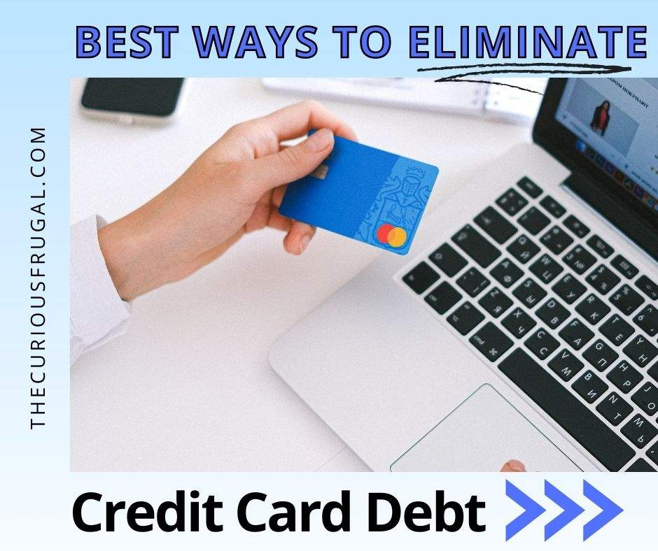 Best ways to eliminate credit card debt (woman shopping online with a credit card)