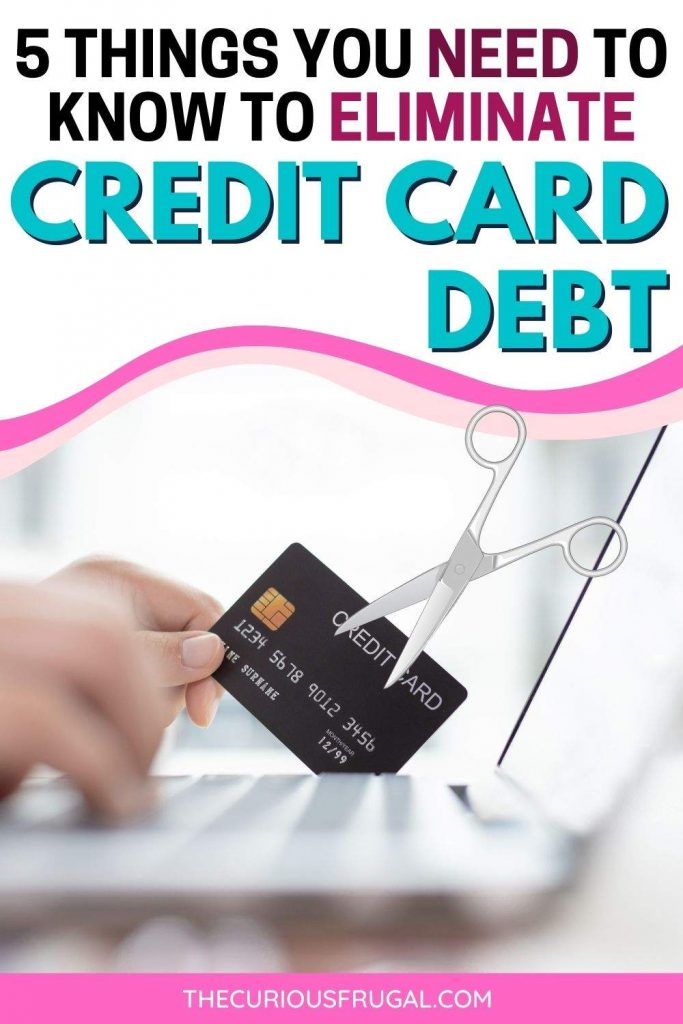 5 things you need to know to eliminate credit card debt (online shopping and a credit card being cut up)